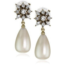 """Carolee Lux - Carolee Lux  Simulated Pearl Floral Top Tear Drop EarringCarolee Lux """"Pearl Basics"""" Simulated Pearl Floral Top Tear Drop Earring"""