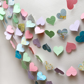 pink, green, lavender, and atlas paper heart garland, birthday party, wedding, decoration