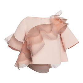 MARC JACOBS - Rose Wool Crepe Top With Ruffle Detail