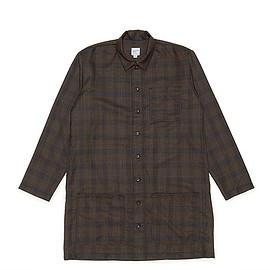 NEPENTHES NEW YORK - Long Shirt-Wool Plaid-Brown
