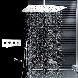 faucet - Contemporary Ceiling Mounted Rain Shower Handshower Stainless Steel Shower Faucet