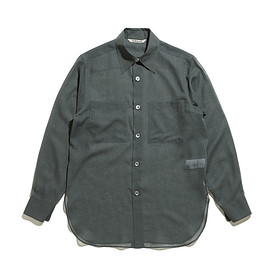 AURALEE - Wool Recycle Polyester Sheer Cloth Shirt-Dk.Green