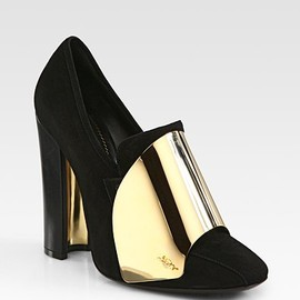Yves Saint Laurent - Suede Metal-Plated Loafer Pumps