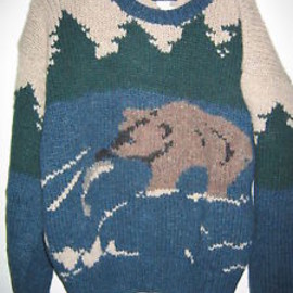woolrich - Vintage Woolrich BEAR SALMON FISHING Ski Sweater Cable Knit Wool