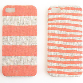 STARCREAUREstudio - Iphone 5 case coral stripes on unbleached natural linen