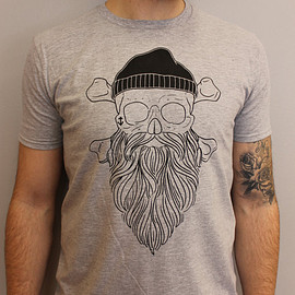 Esty - Forever Bearded - Skull With Beard Grey T-Shirt