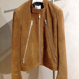 Maison Martin Margiela - CALF SUEDE LEATHER RIDERS JACKET CAMEL