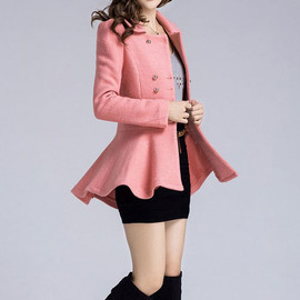 Sweet Ladies Solid Color Double Breast Pleated Hem Slim Coat Dress