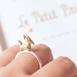 gemagenta - ZORRO ring - BRASS & Silver - Infancia Series - Le Petit Prince inspired, fox ring, organic, delicate, animal, miniature, french, gold