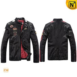 cwmalls - Glasgow Mens Black Leather Moto Biker Jacket CW813028