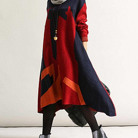 long Sweater dress - Soft comfortable loose asymmetric long Sweater dress/ red/ green