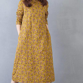 yellow dress - yellow Loose cotton long spring dress Floral long sleeved bottoming dress