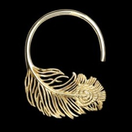 tawapa - Gold Plated Peacock Feather Hoop