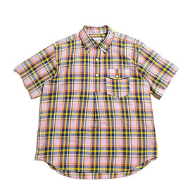 ENGINEERED GARMENTS - Popover BD Shirt-CL Madras Plaid-Pink×Yellow