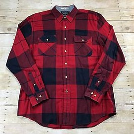 NAUTICA - Nautica Navy/Red Plaid Button Up Shirt Rustic Menswear Mens Size Large