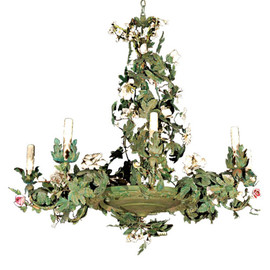 Mary Ann Jones Antiques - Italian Tole Chandelier with Bisque Flowers (c. 1920).