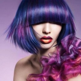 Stunning Blue and Pink Haircolor with Eye Length Bangs