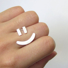 Smiling SilverSmith - Happy Face Ring =) - Handmade Silver Ring
