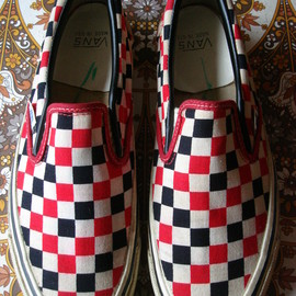 VANS - TRI CHECK SLIP-ON  MADE IN USA   Checkerboard Red White Black  off the wall 80's BMX