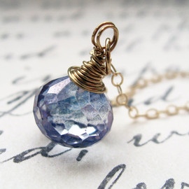 Luna Hollow - water droplet. necklace. (mystic blue quartz. teardrop gemstone. 14k gold. wire wrapped. valentine.)
