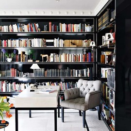 Beautiful black and white home library.