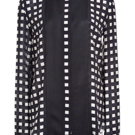 PROENZA SCHOULER - SS2015 Ecru And Black All Over Fil Coupe Button Down