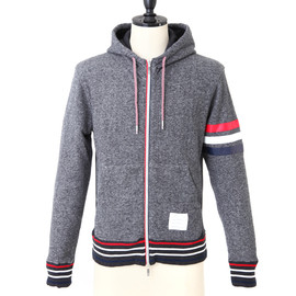 THOM BROWNE - HOODIE GREY RWB STRIPES