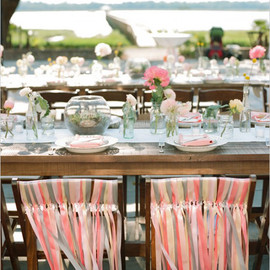 Wedding Chicks - pink and grey ribbon chair decor
