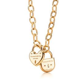 TIFFANY&Co. - 18k yellow gold heart lock and arc lock and oval-link clasp necklace