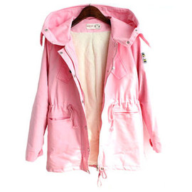 Simple Leisure Pure Color Hood Warm Trench Coat