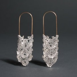 Rei Harada - lace earrings 14k gold, sterling silver