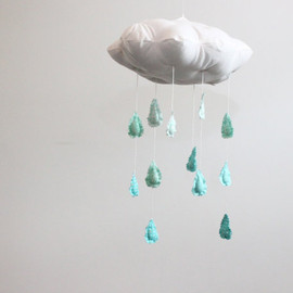 "BabyJivesCo - Ombre Cloud Mobile - ""Fade into you"" fabric sculpture in mint green, turquoise and white"
