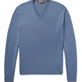 Loro Piana - Contrast-Tipped Wool, Silk and Cashmere-Blend Sweater