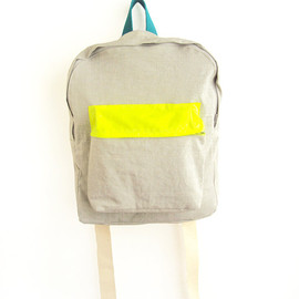 ziazia - Light grey with thin stripes backpack with neon yellow pouch