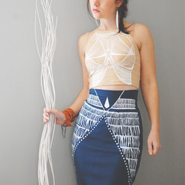 barkdecor - Nyala - Knee Length High Waisted Pencil Skirt - By Bark Decor - Hand Printed Tight Skirt Sea Blue