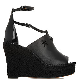 GIVENCHY - Embellished espadrille wedge sandals in black leather