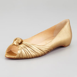 Christian Louboutin - Turban Metallic Leather Flat
