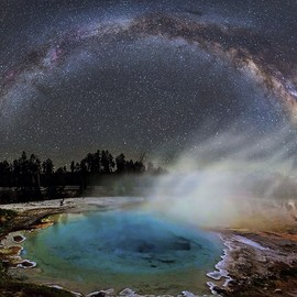 Yellowstone National Park, Wyoming - The Milky Way rises above Silex Spring