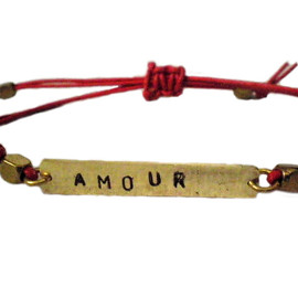 Luulla - AMOUR Hand stamped brass and leather unisex bracelet