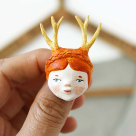 sweet bestiary - little red haired girl with antlers