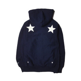 "UNRIVALED - UNRIVALED×M&M ""Basic Star Zip Parka"" NAVY"