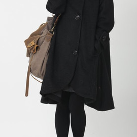 wool coat - Black cloak wool coat Hooded Cape women Winter wool coat
