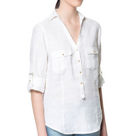 ZARA - LINEN BLOUSE WITH POCKETS