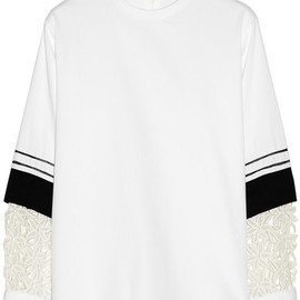Chloe - Guipure lace-sleeve cotton-drill top