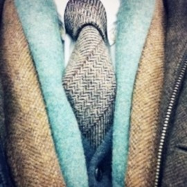 blue, beige, and a tie.