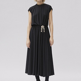 CELINE - Cap Sleeve Dress in Crepe Jersey with Leather and Stud Details