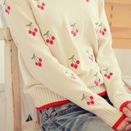 fashion - Image of [grzxy6600420]Leisure Cute Sweet Cherry Embroidered Mixing Color Sweater