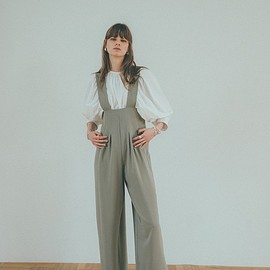 clane - HIGH WAIST SUSPENDER PANTS