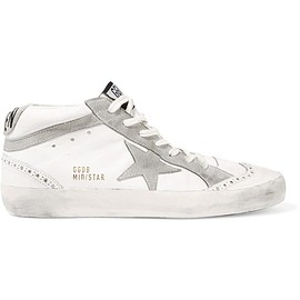 Golden Goose Deluxe Brand - Mid Star studded distressed suede-paneled leather high-top sneakers