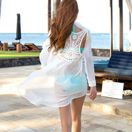 Sexy Backless Hollow Out Long-sleeved Chiffon Shirt